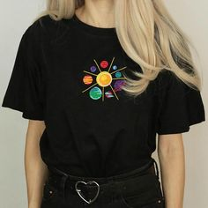 Heliocentrism T-Shirt Size: Cute Tshirts, Cool Shirts, T Shirt Painting, Tshirt Painting Ideas, Diy Fashion, Fashion Outfits, Paint Shirts, Shirt Embroidery, Embroidered Shirts