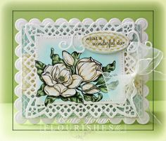 It's reveal day 3 at Flourishes and Beate Johns created this stunning card using Flourishes brand new Magnolias Stamp Set by Marcella Hawley. Be sure to check out her blog for more details.