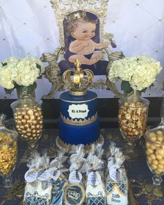 Royal blue and gold prince baby shower party! See more party planning ideas at CatchMyParty.com!