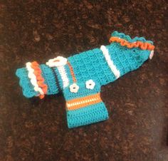 Crochet dog sweater (for a Dolphins fan's girl doggy)