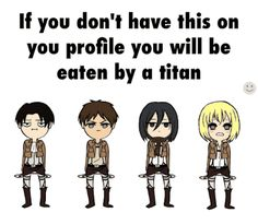 Armin looks embarrassed, Levi looks content, Mikasa looks like she's so done, and Erin looks like he thinks he's killing titans with his fabulous moves