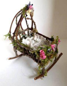 Fairy baby rocking cradle by MyFairyFurniture on Etsy, £12.50