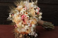 Rustic Pink Peony Bouquet Wedding Bouquet by SmokyMtnWoodcrafts, $65.00