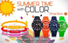 Sport bracelets and watches in summertime colors.