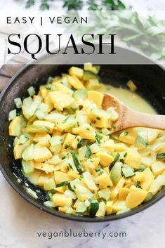 This quick and easy way of cooking yellow and zucchini squash creates wonderful savory squash and a broth that even kids love!  Great recipe for a side dish paired with other summer veggies or delicious served over a baked potato!  #veganrecipes