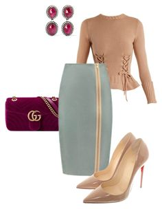Skirt Helen by tubino-skirts-dresses on Polyvore featuring mode, Alexander McQueen, Christian Louboutin, Gucci and Amrapali