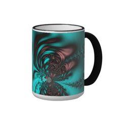 Turquoise Blue Fractal #Mug