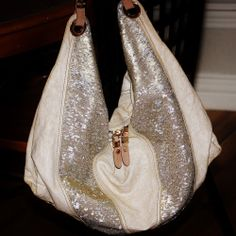 ORYANY Hobo Slouch Linen Handbag with Metallic Sequin Shimmer Panels  #Fashion #Style #Deal
