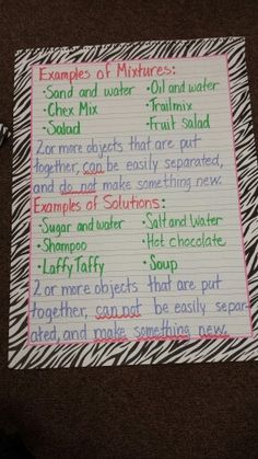 Mixtures and solutions anchor chart. Science, education