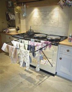 Large Aga Drying Rail from Betty Twyford - Aga Kitchen, Kitchen Dining, Kitchen Decor, Kitchen Tiles, Cottage Kitchens, Home Kitchens, Country Kitchens, Aga Recipes, Aga Stove