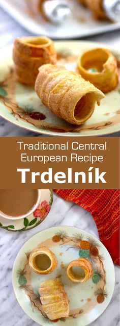 Trdelník is a type of spit cake, traditional of Central Europe, which is prepared with dough that is wrapped around a stick, and topped with sugar, walnuts and/or cinnamon before being baked on an open fire. #Czech #Slovak #CzechRecipe #SlovakRecipe #Dessert #CzechDessert #Pastry #PastryRecipe #WorldCuisine #196flavors