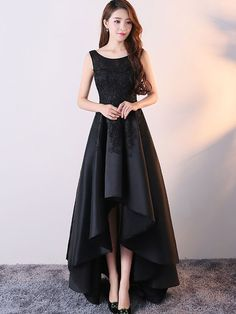 evening dresses Black Satin and Lace Round Neckline High Low Dress, High Low Formal Gowns, Party Dresses High Low Prom Dresses, Black Bridesmaid Dresses, Homecoming Dresses, Prom Night Dress, High Low Gown, Dress Prom, Chiffon Dress, Wedding Dress, Bodycon Dress