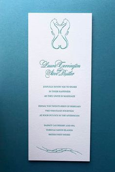 """Caribbean Letterpress Wedding Invitations Sea Horses by chauhie, $1,055.00 This listing is for a 5 piece set of 100. 100- Kissing Seahorse 4""""x9"""" Invitations 100-Sea Turtle Reception Cards 100-Starfish Response Cards 100- #10 envelopes with printing of return address and design on front 100- Response Envelopes with printed return address only"""