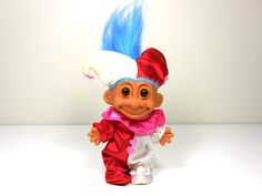 Vintage 1980s Russ Troll Valentines Day Court Jester Troll Doll - includes hat and jump suit - love hearts valentines day troll by MyVintageVarietyShop on Etsy -- Get