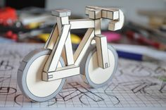 paperbikes v2 - fixed gear paper bike - papercraft bicycle model kit. $2.50, via Etsy.