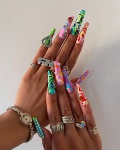 Cute Acrylic Nail Designs, Best Acrylic Nails, Garra, Aycrlic Nails, Swag Nails, Manicure, Hippie Nails, Exotic Nails, Fire Nails