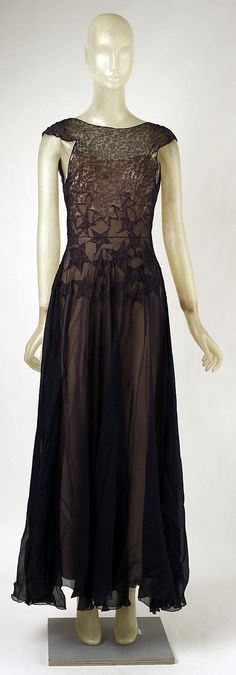 Vionnet Dress - Front - 1937 - by Madeleine Vionnet (French, 1876-1975) - Silk, cotton - @~ Watsonette