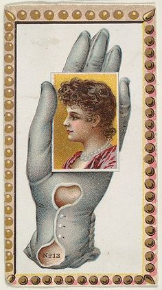 Card Number 13, cut-out from banner advertising the Opera Gloves series (G29) for Allen & Ginter Cigarettes 1890