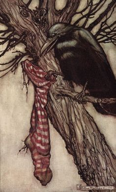 """Arthur Rackham's illustrations for Peter Pan in Kensington Gardens by J. M. Barrie, 1906 """"For years he had been quietly filling his stocking."""""""