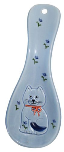 Otagiri Calico Kitty Cat Blue Ceramic Spoon Rest Kitchen Cooking Utensil Japan