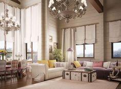 Красивые интерьеры домов из дерева