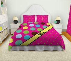 Girls Polka Dot Personalized Bedding
