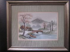 Japanese Bridge, Trees and Snowy Mountain Weaving