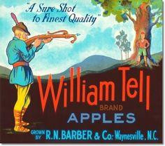 Antique Vintage Art Fruit Crate Label  - William Tell Apples