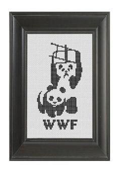 Pattern Funny Cross Stitch WWF Pandas World Wildlife Fund Wrestling Ling Ling Humorous Rude Subversive Cage Match DIY PDF Original. $5.00, via Etsy.