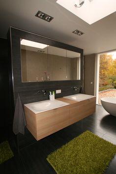 modernes Badezimmer, Bad Einrichtung von Schreinerei Wiedmann, Interior, Holz, Doppelwaschbecken