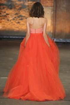 ✕ Christian Siriano Spring 2012—who wouldn't feel like a princess in this? / #orange #gown #style