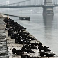 The Shoes On The Danube Bank Is A Memorial In Budapest, Hungary. To the Holocaust?