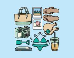 Premium Vector Clipart - Cute Beach Clipart - Kawaii Beach Day Clip Art Set - High Quality Vectors - Chibi Kawaii, Kawaii Doodles, Cute Doodles, Colorful Drawings, Cute Drawings, Cute Images, Cute Pictures, Beach Clipart, Planner Doodles