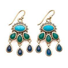 "Studio Barse Chalcedony and Turquoise ""Caicos"" Earrings"
