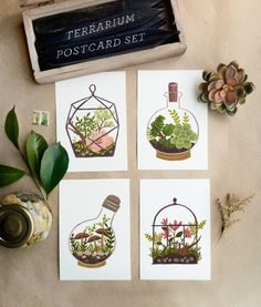 Love these terrarium postcards by Quill and Fox!