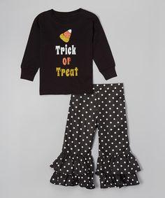 Beary Basics Black 'Trick or Treat' Tee & Pants Set - Infant, Toddler & Girls by Beary Basics #zulily #zulilyfinds