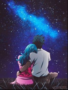 Imagine it happening in anime !! Both looking into the starry sky.  #Gruvia #Gray #Juvia #FairyTail
