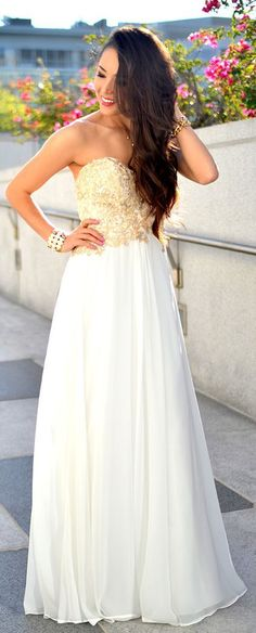 Faviana Strapless Chiffon with Mesh Bodice Prom Dress by Hapa Time - this dress is GORGEOUS! White Maxi Dresses, Summer Dresses, Formal Dresses, Chiffon Dresses, Faviana Dresses, Chiffon Gown, White Dress, Homecoming Dresses, Bridesmaid Dresses