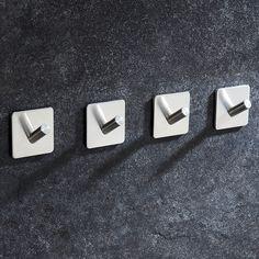 Cozime Bathroom Towel Hooks 3M Self Adhesive No Drilling Stainless Steel Single Hooks For Coat Hat Key Mug (4 pieces)