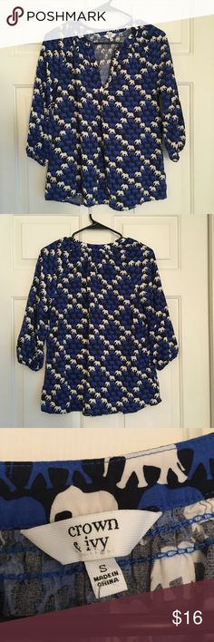 """Crown & Ivy Elephant Print Shirt - Sz S Adorable 3/4 sleeve top from Crown & Ivy in EUC! 24"""" shoulder to hem, 20"""" across chest, 20"""" sleeves. If you like this style, bundle with my other Crown & Ivy printed top for a great deal! Questions welcome! Crown & Ivy Tops"""
