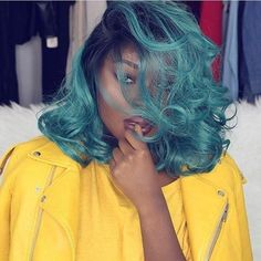 VELVET GREEN OMBRE WAVE BOB SYNTHETIC LACE WIG Silk Hair, Lace Hair, Dark Green Hair, Bob Lace Front Wigs, Hair Density, Synthetic Lace Front Wigs, Crazy Hair, Ombre Hair, Wig Hairstyles