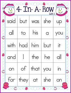 FREE winter themed 4-In-A-Row game boards for practicing sight words!
