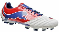 PUMA PowerCat 1.12 FG Mens Soccer Cleats (NEW) K-Leather, White / Red / Blue