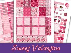 Sweet Valentine~Erin Condren Printable Planner Stickers Weekly Kit For The Erin Condren Life Planner