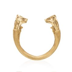 14k Gold Wild Cats Ring by Maya Sebbah | Jewelry Artist. Sphynx ring, Sphinx Ring, Egyptian Style Jewelry. Hand sculpted, Handmade Jewelry. Fine Jewelry. Jewelry art.