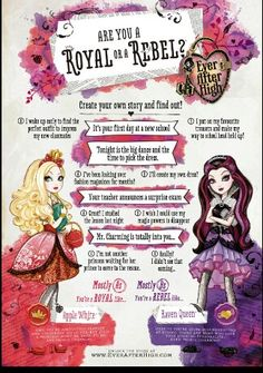 Ever after high  quiz if you are a redial or a royal