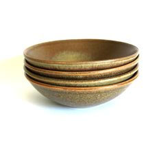 Temuka Pottery Riverstone Oatmeal Bowls - Vintage Stoneware Earthenware - Set of Four - Made in New Zealand by FunkyKoala on Etsy Earthenware, Stoneware, New Zealand, Serving Bowls, Decorative Bowls, Oatmeal, Product Launch, Pottery, Ceramics