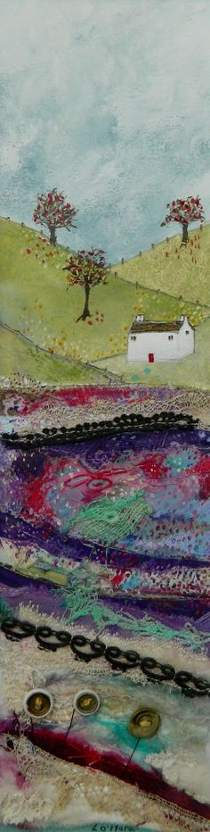 ''Reflections'' by Louise O'Hara Theme Pictures, Fabric Pictures, Fiber Art Quilts, Cute Quilts, Textiles, Landscape Quilts, Thread Painting, Great Paintings, Creative Artwork