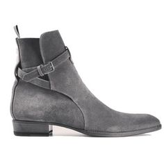 Handmade Jodhpurs Ankle Boot, Men Gray Ankle High Suede Leather Boot
