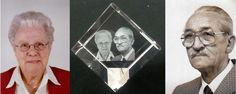 Gravure in kubus gemaakt vanaf 2 pasfoto's